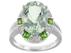 5.42ct Oval Prasiolite, .43ctw Baguette Chrome Diopside And .03ctw Round White Zircon Silver Ring