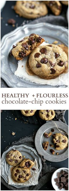 Healthy + Flourless Chocolate Chip Cookies | chelseasmessyapron.com