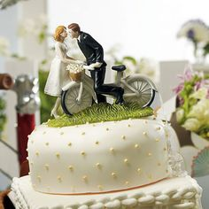 A Kiss Above Bicycle Bride and Groom Cake Top