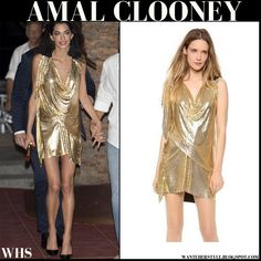 Amal wore gold shimmering mini dress from Vionnet, black pumps and gold clutch