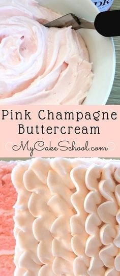 icing frosting Flavorful Pink Champagne Buttercream Frosting Recipe by ! We love this frosting with our pink champagne cake recipe! So simple and delicious. Köstliche Desserts, Delicious Desserts, Health Desserts, Plated Desserts, Buttercream Icing, Pink Icing, Wilton Buttercream Frosting, Icing Cupcakes, Cake Topper Banner