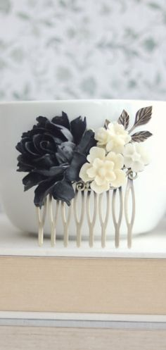 Black and Ivory Flower Hair Comb, Black Rose, Leaf Antiqued Brass Rose Comb. Winter Garden Wedding, Prom, Bridesmaids Gift. Winter Rustic by Marolsha - https://www.etsy.com/listing/232576240/black-and-ivory-flower-hair-comb-black?ref=shop_home_active_20