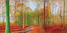 Woldgate Woods, 21, 23 & 29 November 2006, 2006, one of David Hockney's vast multi-canvas paintings of his native Yorkshire