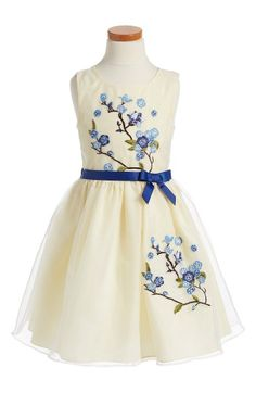 Free shipping and returns on Iris & Ivy Embroidered Sleeveless Dress (Toddler Girls, Little Girls & Big Girls) at Nordstrom.com. A gauzy mesh overlay and delicate floral embroidery enhance the dreamy charm of a sleeveless dress with a grosgrain ribbon belt.