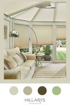 The most popular colour palette to be used with window furnishings thanks to their versatility. Alayna Natural gives you the confidence to experiment with colour around your spacing, safe in the knowledge that your blinds will complement beautifully whatever scheme you choose. The light tone of this blind will give the illusion of a bright and airy space even in a smaller area, and the solar reflective coating means that you can keep spaces like conservatories cool in the hot summer. View more. Modern Conservatory, Conservatories, Experiment, Illusion, Blinds, Minimalism, Confidence, Solar, Knowledge