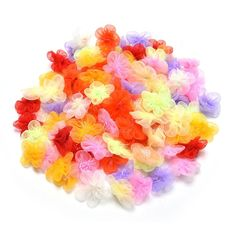 100 Pcs Organza Ribbon Flowers with Beads Appliques by Crqes -- Click image for more details.