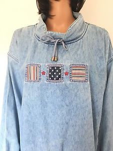 C J Banks Women Plus Size 1x Jeans Denim Top Designer Fashion Patriotic US Stars | eBay