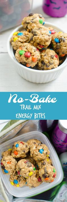 No Bake Trail Mix Energy Bites - Walmart Recipes - Ideas of Walmart Recipes - No-Bake Trail Mix Energy Bites filled with raisins peanuts chocolate chips and M&MS! The perfect quick snack for hiking beach trips or school lunches! Weight Watcher Desserts, Comida Diy, Quick Snacks, Quick Recipes For Kids, No Bake Kids Recipes, Summer Snack Recipes, Ark Recipes, Simple Recipes, Shrimp Recipes