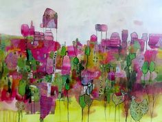 Chris Cozen - Walk in the Park, Acrylic and Collage on paper.