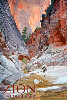 Zion National Park, Utah - Slot Canyon - Lantern Press Artwork (Art Print Available) Retro Poster, Vintage Travel Posters, National Parks Usa, Zion National Park, Vintage National Park Posters, Voyage Usa, Slot Canyon, Wyoming, Artwork