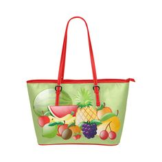 Fruit Watermelon Pineapple Bananas Grapes Leather Tote Bag/Small (Model 1651)