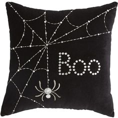 Pier 1 Imports Halloween Black Mini Boo Pillow ($4.98) ❤ liked on Polyvore featuring home, home decor, holiday decorations, halloween, pillows, holiday, accessories, holiday home decor, halloween home decor and black home decor