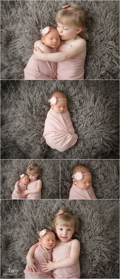 poses for newborn girl and sister - siblings newborn photography poses