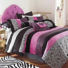 zebra print bedding totally in my room right now! Zebra Print Bedding, Polka Dot Bedding, Striped Bedding, Girl Room, Girls Bedroom, Bedroom Decor, Bedroom Ideas, Bedroom Stuff, Zebra Bedrooms