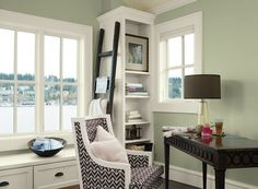 soothing home office space - tree moss 508 (walls), mountain peak white OC-121 (trim), branchport brown HC-72 (accent)