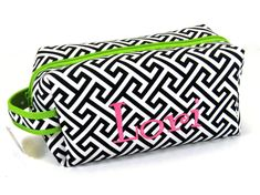 Cosmetic Bag in Greek Key with Lime Green by jansnstitches on Etsy Monogrammed Bridesmaid Gifts, Personalized Graduation Gifts, Greek Key, Zipper Bags, Monogram Letters, Cosmetic Bag, Lime, Trending Outfits, Cosmetics
