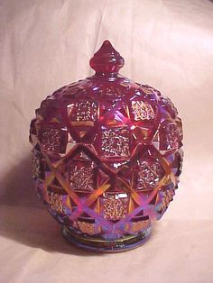 Westmoreland Ruby Red Iridescent Carnival Old Quilt Covered Candy Jar