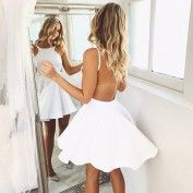 A-Line Round Neck Backless White Short Homecoming Dress