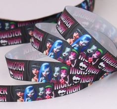 Monster High  Printed Grosgrain Ribbon by Universalideas on Etsy, $1.50 https://www.etsy.com/listing/165619347/monster-high-printed-grosgrain-ribbon