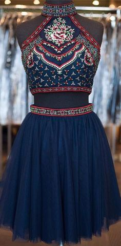 Cute Short A-Line Glitter Navy Blue Backless Sexy Fashion Two Pieces Homecoming Dresses Cute Homecoming Dresses, Homecoming Dresses Sexy, Homecoming Dress, Homecoming Dresses Two Piece, Homecoming Dresses Blue Homecoming Dresses 2019 Cute Short Prom Dresses, Vintage Homecoming Dresses, Two Piece Homecoming Dress, Hoco Dresses, Dance Dresses, Vintage Prom, Backless Dresses, Dress Prom, Dress Vintage