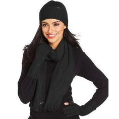 Calvin Klein Hat, Scarf, and Tech Glove Set Black, knitted 3 piece cold weather set with silver accents. Open to offers! Calvin Klein Accessories Hats