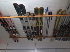 Space Efficient Storage Of Skis In Garage