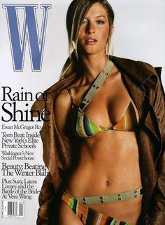 Gisele Bündchen photographed by Michael Thompson for W Magazine February 2002 W Magazine, Fashion Magazine Cover, Fashion Cover, Magazine Covers, Women's Fashion, Michael Thompson, Editorial, Karen Elson, Vintage Dior