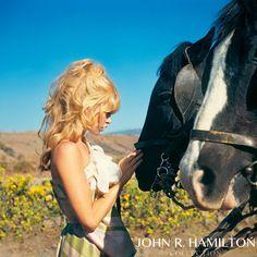 "Brigitte Bardot with horses in Mexico on set of ""Viva Maria."""