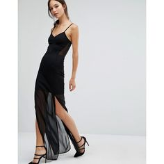 French Connection Chantilly Bow Slip Dress (£89) ❤ liked on Polyvore featuring dresses, black, v neck dress, v neck maxi dress, strappy maxi dress, slimming maxi dresses and sheer maxi dress