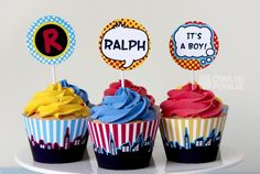 Cupcakes at a Superhero Party #superhero #partycupcakes