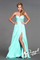 Aqua Strapless Prom Gown