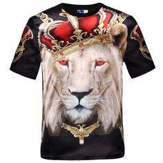 New fashion men's hip hop crown lion print t shirt mens 3d compression t-shirt…