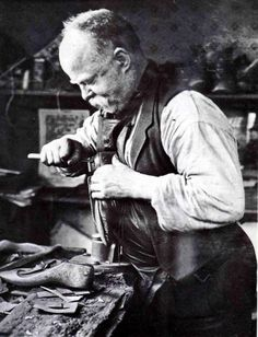 My Grandpa owned Dave's Shoe Repair in Muncie, IN until my Dad took it over. I still remember the smell of rubber cement.the work benches full of tools, tacs,etc. Cheap Boots, Cool Boots, Leather Apron, Leather Boots, Shoe Cobbler, Rubber Cement, Shoe Image, Working People, Best Credit Cards