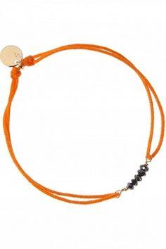 Bracelet fil 5 diamants noirs