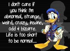 Lifes to short to be normal funny quotes quote lol funny quote funny quotes humor donald duck