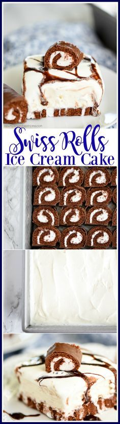 Swiss Rolls Ice Cream Cake - This easy ice cream cake recipe is perfect for summer! Layers of Swiss Rolls, vanilla ice cream, whipped cream and chocolate sauce.