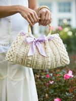 Ribbon-Weaved Crochet Handbag