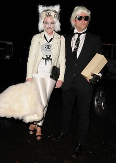 Pin for Later: Get Some Halloween Inspiration With 80+ Amazing Celebrity Costumes!  Dermot O'Leary and wife Dee dressed as Karl Lagerfeld and his cat Choupette for Jonathan Ross's 2013 party.