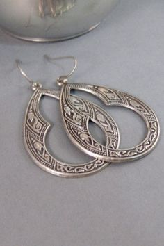 Gypsy Earrings,Silver Earrings,Antique,Vintage Style,Wedding,Bride,Antique Earrings,Boho,Hamsa,Boho Earring,Hoop Earring.valleygirldesign on Etsy, $19.00