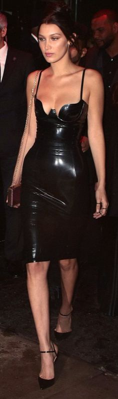 Who made Bella Hadid's black latex dress and ankle strap pumps?