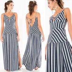 Reposição   P M G >> Vestido longo listra R$358,20 e frete grátis, usando o código ✨1148✨ no campo vendedora, no final da compra. Parcela em até 6x sem juros e pode trocar na loja.