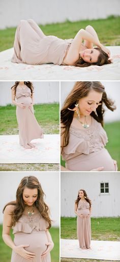 I want to pose with a pretty dress like this when I'm pregnant. No bare belly pictures for me!