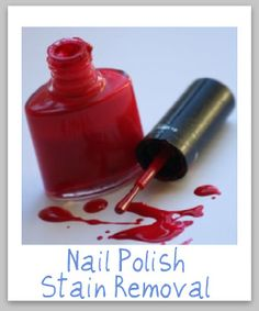 Nail polish stain removal guide, for clothing, upholstery and carpet.