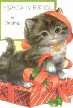 Vintage Christmas Card, UNUSED, Kitten with Red Ribbon