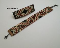 This bracelet has a Mexican/Southwestern theme. It has dark red, beige, black and oxblood red seed beads. The pattern re Native Beading Patterns, Native American Design, Tear, Oxblood, Purple Rain, Loom Beading, Jewelry Patterns, Bead Weaving, Mother Gifts