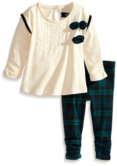 ABS by Allen Schwartz Baby Girl Anabelle Ivory Tunic Plaid Legging Set Size 12M