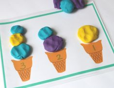 Ice Cream Math Mat - play with playdough and learn math!