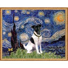 Starry Night & Smooth Fox Terrier Note Cards (Pk o