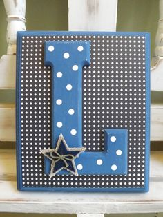 Custom Initial Wall Letters Monogram Name Personalized Navy Stars Americana Boy Room New Baby Shower