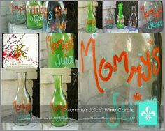 Hand Painted Decorative Wine Carafe  Mommy's by The KEL Kollection, $30.00 + shipping  www.facebook.com/TheKELKollection